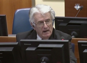 Radovan Karadzic addresses the court of the  International Criminal Tribunal for the former Yugoslavia in The Hague.